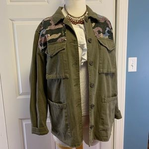 Boom Boom Jeans Army Green Sequin Jacket